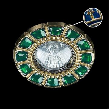 Встраиваемый светильник Artglass SPOT 51 BLUE, 1xGU10x35W, золото, синий, металл, стекло