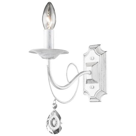 Бра Velante 702-001-01, 1xE14x60W, белый с золотой патиной, прозрачный, металл, стекло