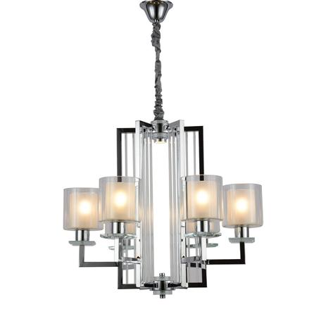 Подвесная люстра Lumina Deco Manhattan LDP 8012-6 CHR, 6xE27x40W, хром, белый, прозрачный, металл со стеклом, стекло