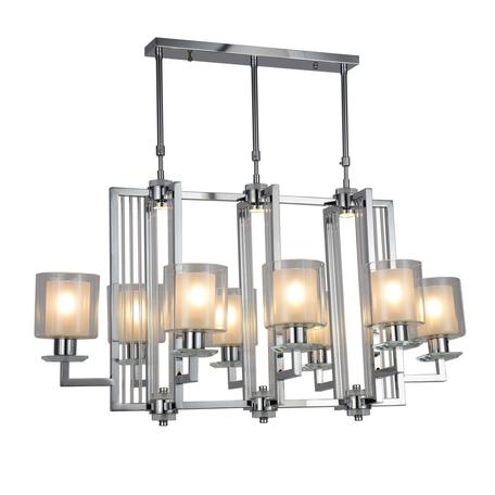 Подвесная люстра Lumina Deco Manhattan LDP 8012-8P CHR, 8xE27x40W, хром, белый, прозрачный, металл со стеклом, стекло