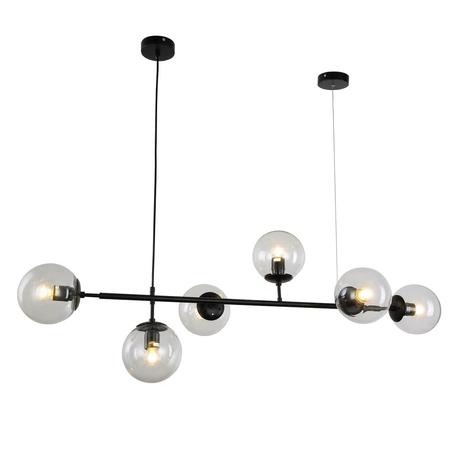 Подвесной светильник Lumina Deco Ceredo LDP 6034-6 BK, 6xE27x40W, черный, прозрачный, металл, стекло