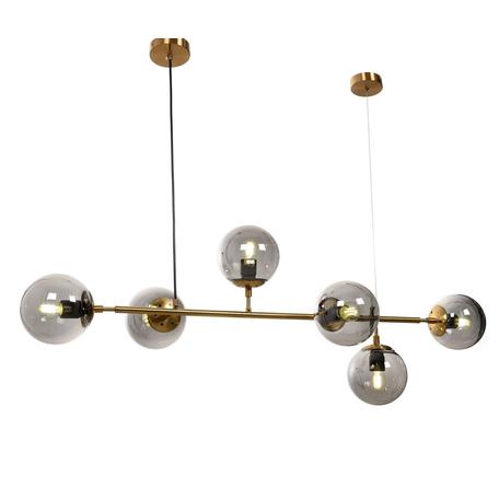 Подвесной светильник Lumina Deco Ceredo LDP 6034-6 MD, 6xE27x40W, матовое золото, дымчатый, металл, стекло