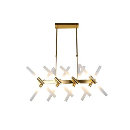 Подвесной светильник Lumina Deco Alford LDP 6036-16 GD, 16xG9x20W, золото, белый, металл, стекло