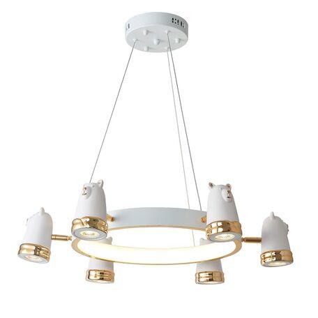 Подвесная люстра с регулировкой направления света Favourite Taddy Bears 2451-6P, 6x5W + LED 30W 4000K 5338lm, белый, золото, металл, гипс