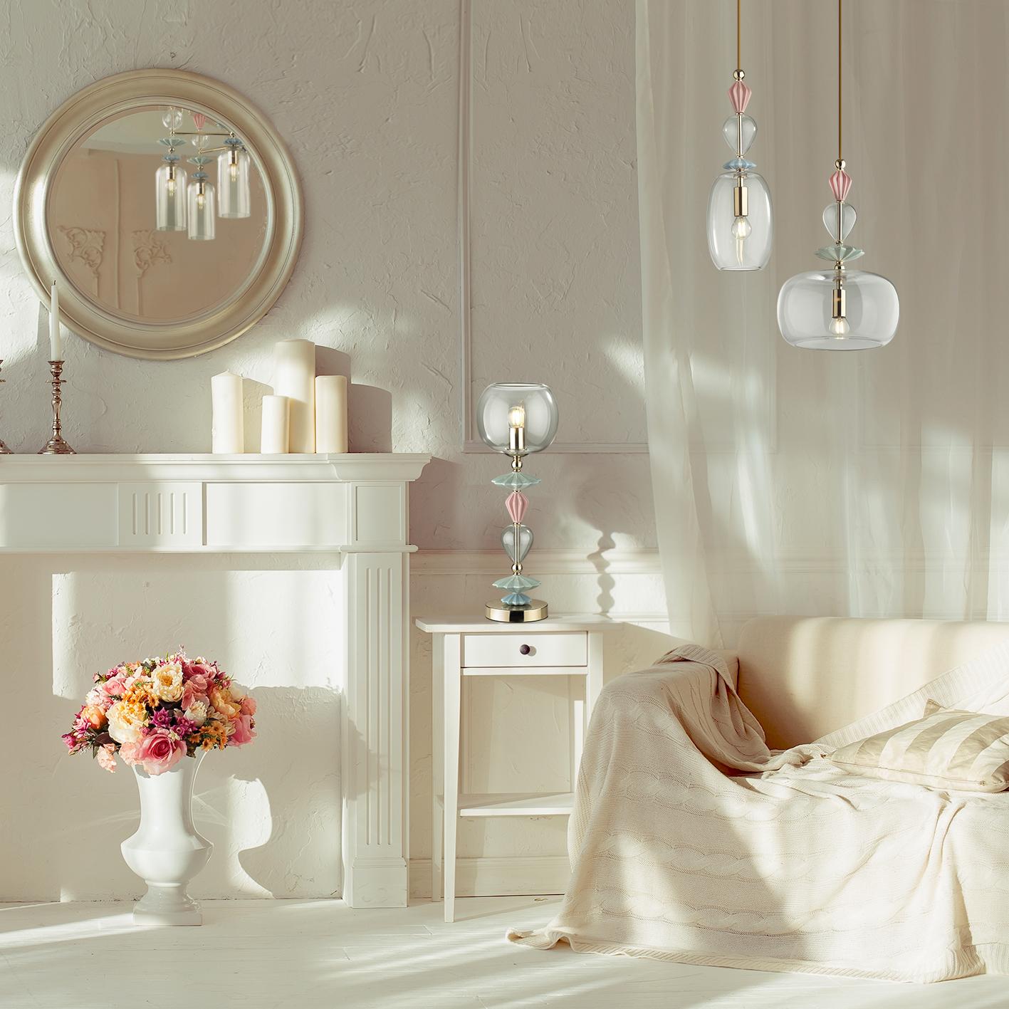 Настольная лампа Odeon Light Classic Bizet 4855/1T, 1xE14x40W, разноцветный, прозрачный, керамика, стекло - фото 4