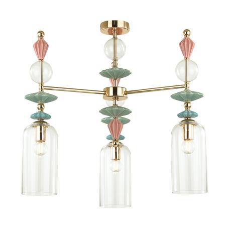 Подвесная люстра Odeon Light Classic Bizet 4855/3C, 3xE14x40W, разноцветный, прозрачный, металл с керамикой, керамика с металлом, стекло