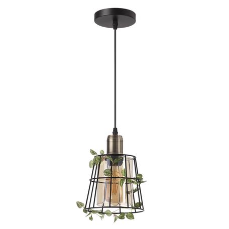 Подвесной светильник Lumion Journey 4463/1, 1xE27x60W, черный, бронза, зеленый, коньячный, металл, металл со стеклом/пластиком