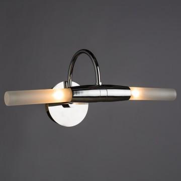 Настенный светильник для подсветки зеркал Arte Lamp Aqua A1208AP-2CC, IP44, 2xG9x33W, хром, белый, металл, стекло