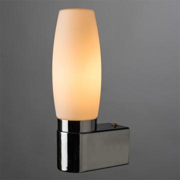 Бра Arte Lamp Aqua A1209AP-1CC, IP44, 1xE14x40W, хром, белый, металл, стекло