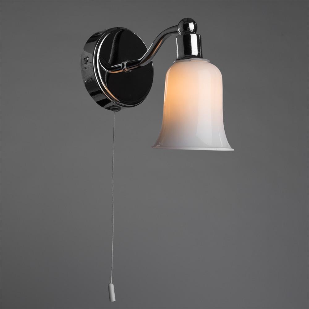 Настенный светильник Arte Lamp Aqua A2944AP-1CC, IP44, 1xG9x28W, хром, белый, металл, стекло - фото 1
