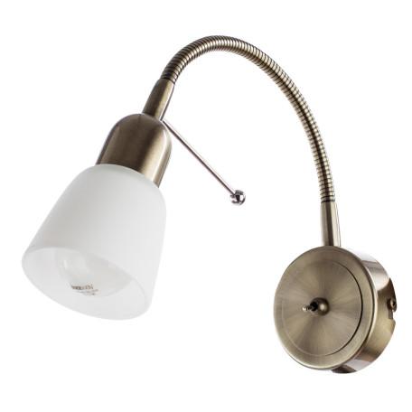 Настенный светильник с регулировкой направления света Arte Lamp Lettura A7009AP-1AB, 1xE14x40W, бронза, белый, металл, стекло