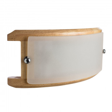 Настенный светильник Arte Lamp Archimede A6460AP-1BR, 1xE14x40W, коричневый, белый, дерево, стекло