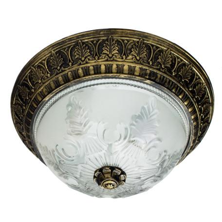 Потолочный светильник Arte Lamp Piatti A8005PL-2BN, 2xE27x60W, черный с золотой патиной, белый, пластик, стекло