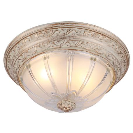 Потолочный светильник Arte Lamp Piatti A8014PL-2WA, 2xE27x60W, белый с золотой патиной, белый, пластик, стекло