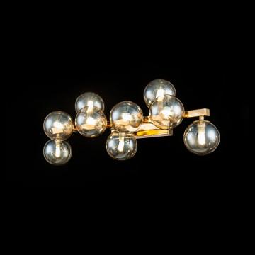 Настенный светильник Maytoni Dallas MOD547WL-09G, 9xG9x28W, золото, янтарь, металл, стекло