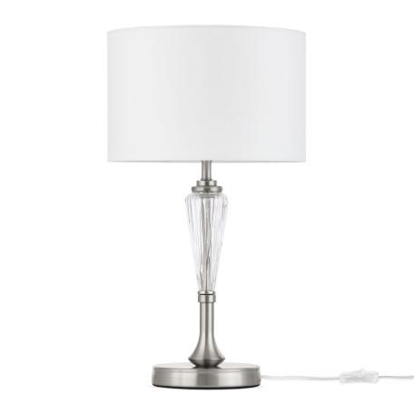 Настольная лампа Maytoni Alicante MOD014TL-01N, 1xE14x40W, никель, прозрачный, белый, металл, стекло, текстиль