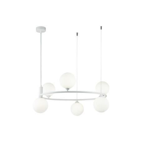 Подвесная люстра Maytoni Ring MOD013PL-06W, 6xG9x25W, белый, металл, стекло