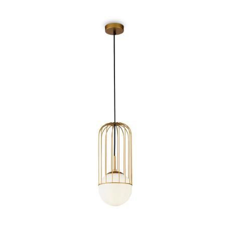 Подвесной светильник Maytoni Telford P362PL-01G, 1xE27x40W, матовое золото, белый, металл, стекло