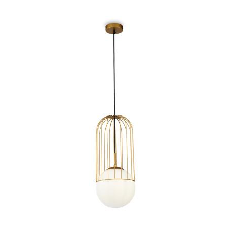 Подвесной светильник Maytoni Telford P363PL-01G, 1xE27x40W, матовое золото, белый, металл, стекло