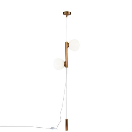 Подвесной светильник-торшер Maytoni Erich MOD221FL-01G, 2xE14x40W, латунь, белый, металл, стекло