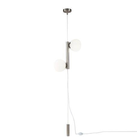 Подвесной светильник-торшер Maytoni Erich MOD221FL-01N, 2xE14x40W, никель, белый, металл, стекло