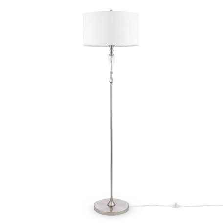 Торшер Maytoni Neoclassic Alicante MOD014FL-01N, 1xE27x40W, никель, белый, металл со стеклом, текстиль
