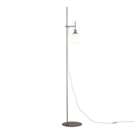 Торшер Maytoni Erich MOD221-FL-01-N, 1xE14x40W, никель, белый, металл, стекло