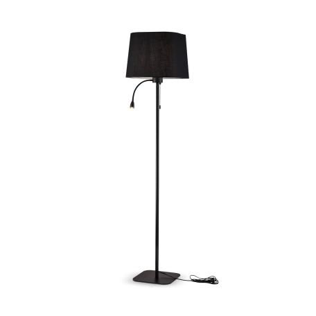 Торшер Maytoni Farel Z001FL-L3W-1B, 1xE27x60W + LED, черный, металл, текстиль