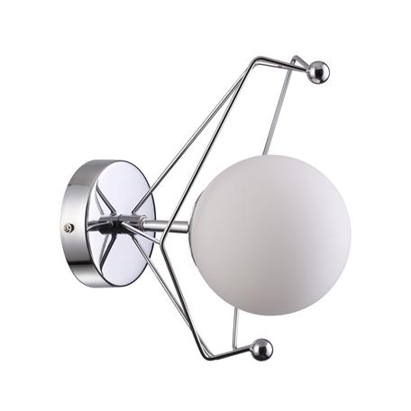 Бра Lumion Moderni Kennedy 4467/1W, 1xE14x40W, матовый хром, белый, металл, стекло