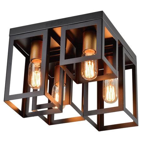 Светильник Lussole Loft Bullock LSP-8409, IP21, 4xE27x40W, черный, металл