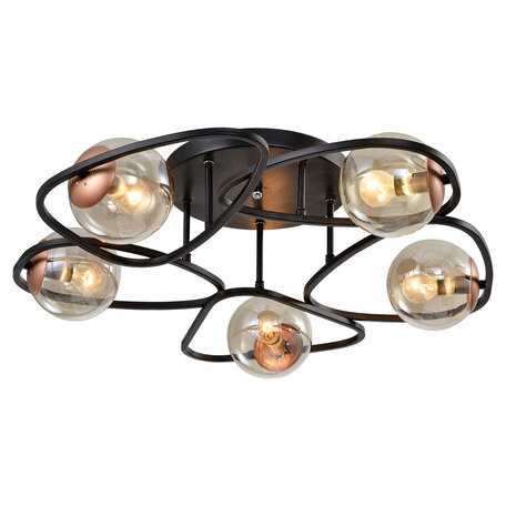 Светильник Lussole Loft Chilton LSP-8410, IP21, 5xE14x40W, черный с медью, янтарь, металл, стекло