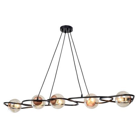Светильник Lussole Loft Chilton LSP-8411, IP21, 5xE14x40W, черный с медью, янтарь, металл, стекло