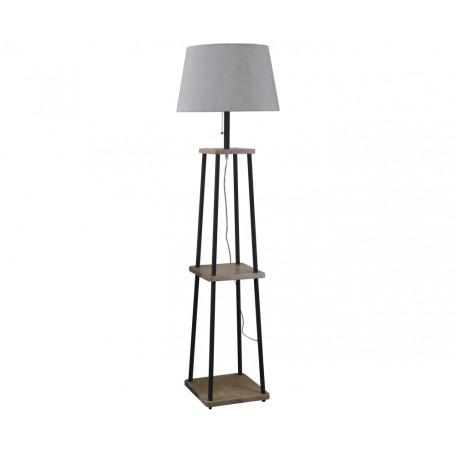 Торшер с полкой Kink Light Аликанте 07098, 1xE27x40W, коричневый, серый, дерево, текстиль