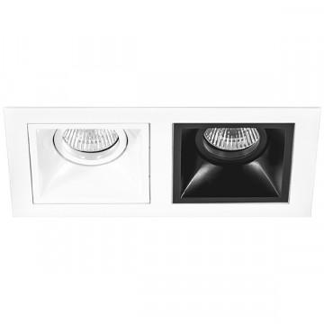 Встраиваемый светильник Lightstar Domino D5260607, 2xGU5.3x50W, черный, черно-белый, металл