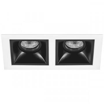 Встраиваемый светильник Lightstar Domino D5260707, 2xGU5.3x50W, черный, черно-белый, металл
