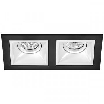 Встраиваемый светильник Lightstar Domino D5270606, 2xGU5.3x50W, черный, черно-белый, металл