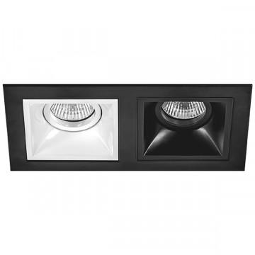 Встраиваемый светильник Lightstar Domino D5270607, 2xGU5.3x50W, черный, черно-белый, металл