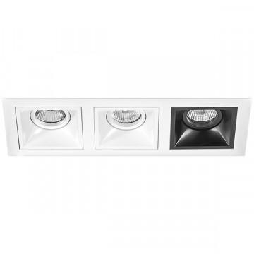 Встраиваемый светильник Lightstar Domino D536060607, 3xGU5.3x50W, черный, черно-белый, металл
