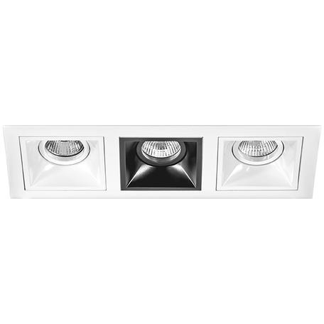 Встраиваемый светильник Lightstar Domino D536060706, 3xGU5.3x50W, черный, черно-белый, металл
