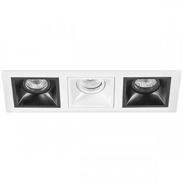 Встраиваемый светильник Lightstar Domino D536070607, 3xGU5.3x50W, черный, черно-белый, металл