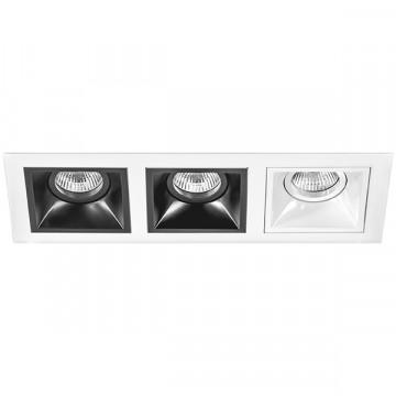 Встраиваемый светильник Lightstar Domino D536070706, 3xGU5.3x50W, черный, черно-белый, металл