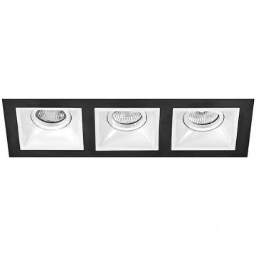 Встраиваемый светильник Lightstar Domino D537060606, 3xGU5.3x50W, черный, черно-белый, металл