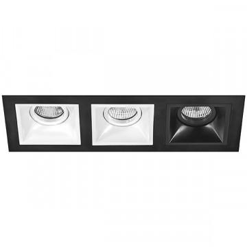 Встраиваемый светильник Lightstar Domino D537060607, 3xGU5.3x50W, черный, черно-белый, металл