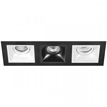 Встраиваемый светильник Lightstar Domino D537060706, 3xGU5.3x50W, черный, черно-белый, металл