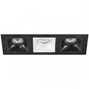 Встраиваемый светильник Lightstar Domino D537070607, 3xGU5.3x50W, черный, черно-белый, металл