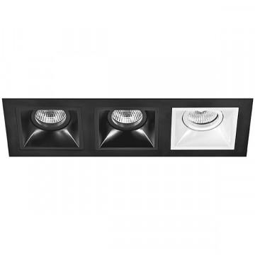 Встраиваемый светильник Lightstar Domino D537070706, 3xGU5.3x50W, черный, черно-белый, металл