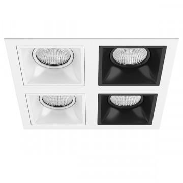 Встраиваемый светильник Lightstar Domino D54606060707, 4xGU5.3x50W, черный, черно-белый, металл