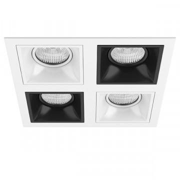 Встраиваемый светильник Lightstar Domino D54606070607, 4xGU5.3x50W, черный, черно-белый, металл
