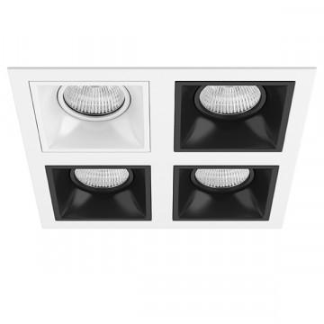 Встраиваемый светильник Lightstar Domino D54606070707, 4xGU5.3x50W, черный, черно-белый, металл