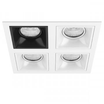 Встраиваемый светильник Lightstar Domino D54607060606, 4xGU5.3x50W, черный, черно-белый, металл